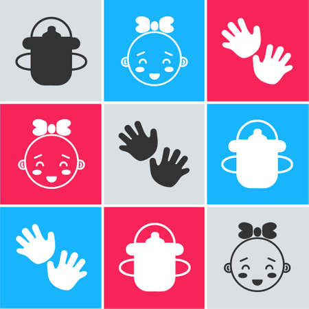 Set Baby bottle, Happy little girl head and Baby hands print icon. Vector  イラスト・ベクター素材