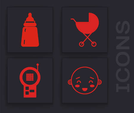 Set Happy little boy head, Baby bottle, Baby stroller and Baby Monitor Walkie Talkie icon. Vector  イラスト・ベクター素材