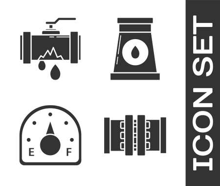 Set Industry metallic pipes and valve, Broken metal pipe with leaking water, Motor gas gauge and Oil and gas industrial factory building icon. Vector