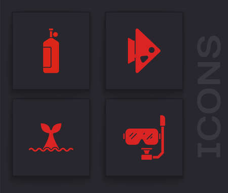 Set Diving mask and snorkel, Aqualung, Fish and Whale tail ocean wave icon. Vector