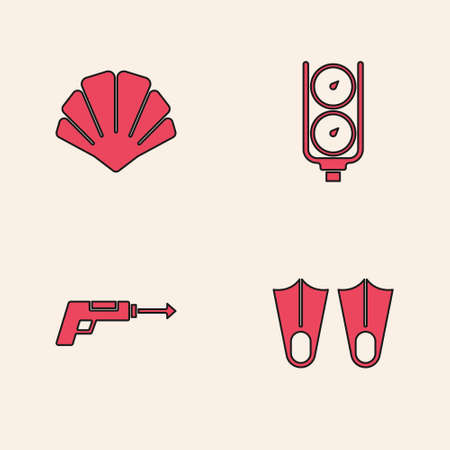 Set Rubber flippers, Scallop sea shell, Gauge scale and Fishing harpoon icon. Vector Ilustrace