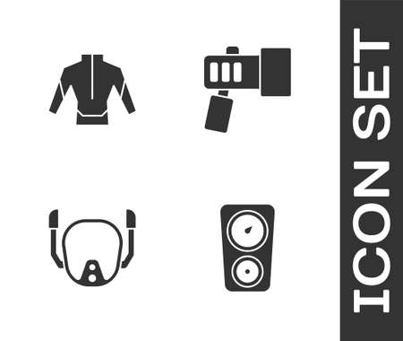 Set Gauge scale, Wetsuit, Diving mask and Flashlight icon. Vector Ilustrace