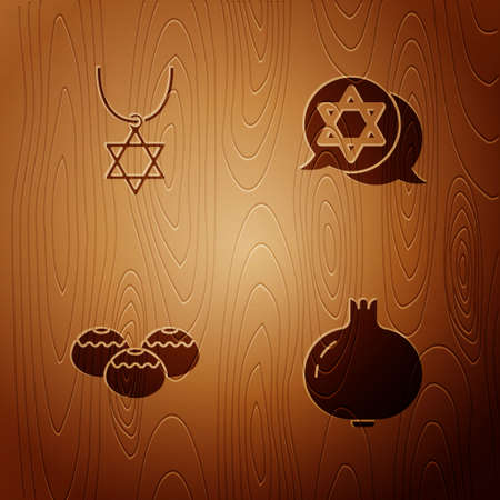 Set Pomegranate, Star of David necklace on chain, Jewish sweet bakery and on wooden background. Vector