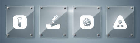Set Triangle warning toxic, Salt stone, Petri dish with pipette and Test tube and flask. Square glass panels. Vector Illustration