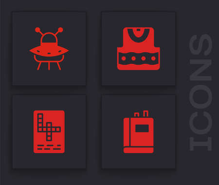 Set Book, UFO flying spaceship, Waistcoat and Crossword icon. Vector