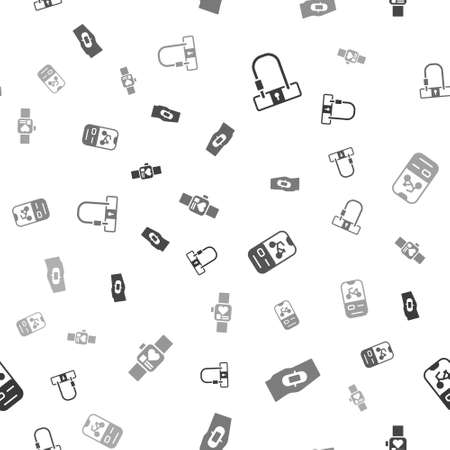 Set Bicycle lock, Plaster on leg, rental mobile app and Smart watch on seamless pattern. Vector
