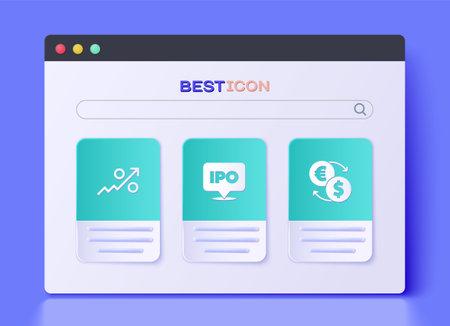Set IPO, Percent up arrow and Money exchange icon. Vector