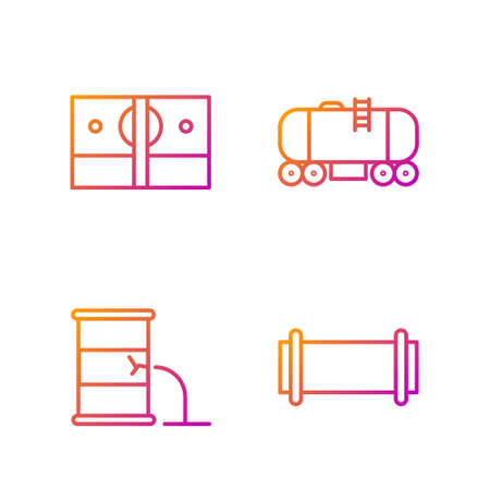Set line Industry pipe, Barrel oil leak, Stacks paper money cash and Oil railway cistern. Gradient color icons. Vector