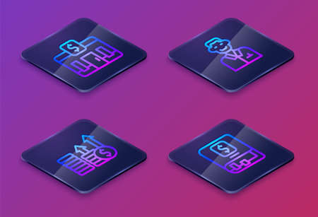 Set Isometric line Bank building, Financial growth and dollar, Trader and book. Blue square button. Vector
