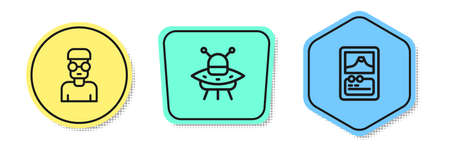 Set line Nerd geek, UFO flying spaceship and Card game. Colored shapes. Vector