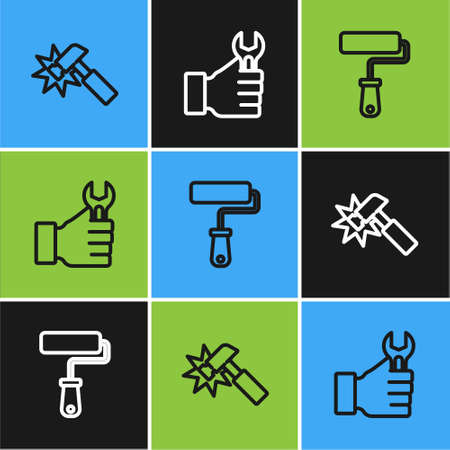Set line Hammer, Paint roller brush and Wrench spanner icon. Vector
