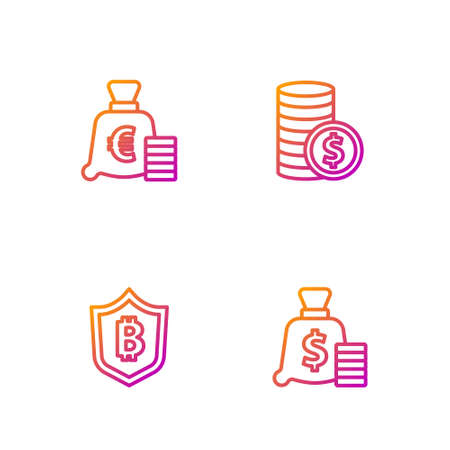 Set line Money bag, Shield with bitcoin, Coin money euro symbol and dollar. Gradient color icons. Vector
