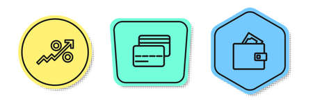 Set line Percent up arrow, Credit card and Wallet with money. Colored shapes. Vector