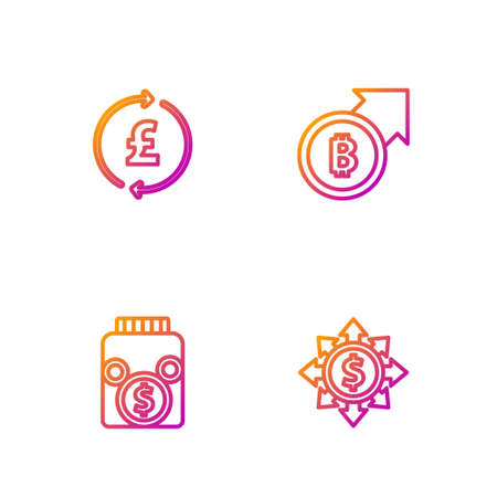 Set line Dollar, share, network, Glass money jar with coin, Coin pound and Financial growth and bitcoin. Gradient color icons. Vector