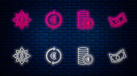 Set line Coin money with euro symbol, , Dollar, share, network and Stacks paper cash. Glowing neon icon on brick wall. Vector