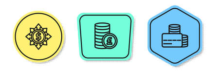Set line Dollar, share, network, Coin money with pound and Credit card. Colored shapes. Vector