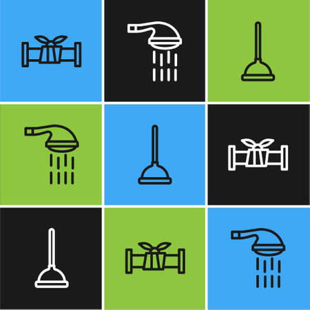 Set line Industry metallic pipe, Rubber plunger and Shower icon. Vector