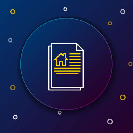 Line House contract icon isolated on blue background. Contract creation service, document formation, application form composition. Colorful outline concept. Vector