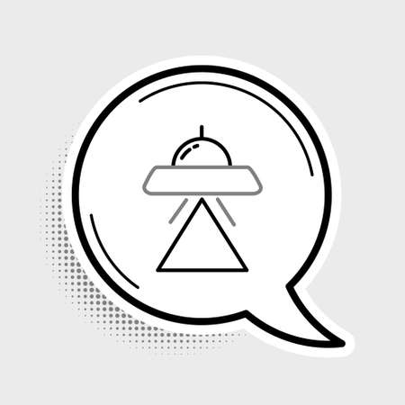 Line UFO flying spaceship icon isolated on grey background. Flying saucer. Alien space ship. Futuristic unknown flying object. Colorful outline concept. Vector