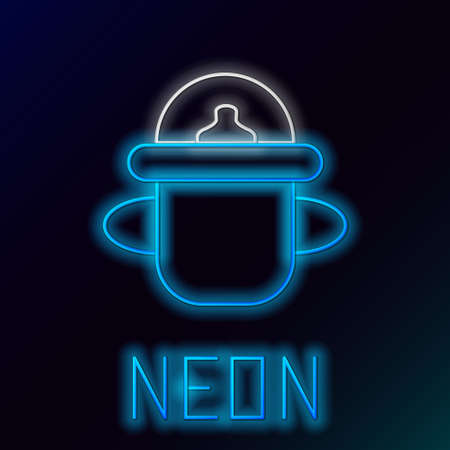 Glowing neon line Baby bottle icon isolated on black background. Feeding bottle icon. Milk bottle sign. Colorful outline concept. Vector