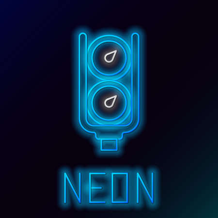 Glowing neon line Gauge scale icon isolated on black background. Satisfaction, temperature, manometer, risk, rating, performance, speed tachometer. Colorful outline concept. Vector