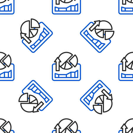 Line Stocks market growth graphs and money icon isolated seamless pattern on white background. Monitor with stock charts arrow on screen. Colorful outline concept. Vector