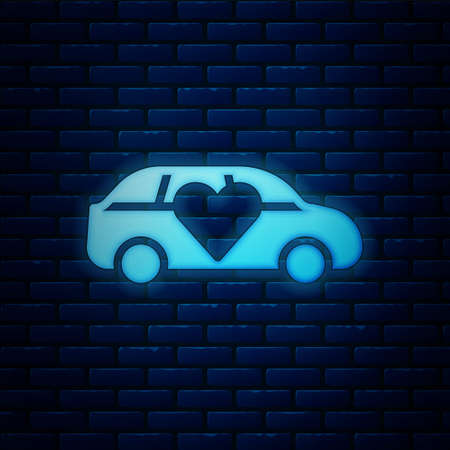 Glowing neon Luxury limousine car icon isolated on brick wall background. For world premiere celebrities and guests poster. Vector
