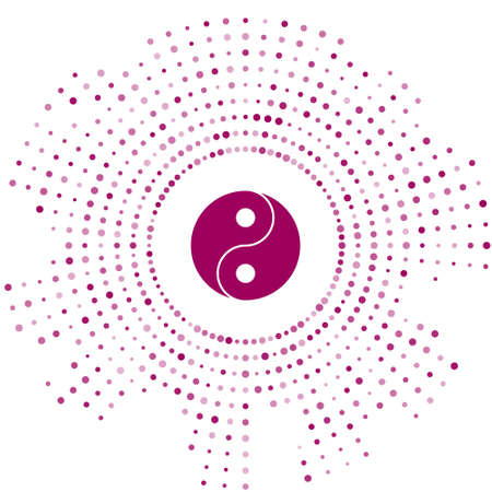 Purple Yin Yang symbol of harmony and balance icon isolated on white background. Abstract circle random dots. Vector