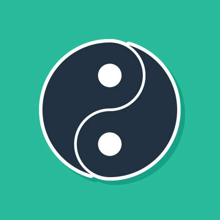 Blue Yin Yang symbol of harmony and balance icon isolated on green background. Vector