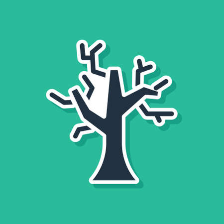 Blue Withered tree icon isolated on green background. Bare tree. Dead tree silhouette. Vector
