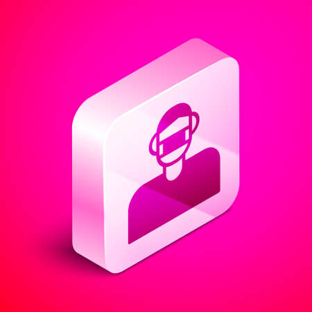 Isometric Man face in a medical protective mask icon isolated on pink background. Quarantine. Silver square button. Vector