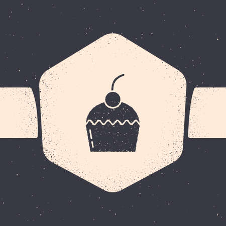 Grunge Cake icon isolated on grey background. Happy Birthday. Monochrome vintage drawing. Vector
