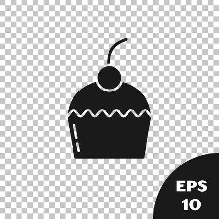 Black Cake icon isolated on transparent background. Happy Birthday. Vector Illustration