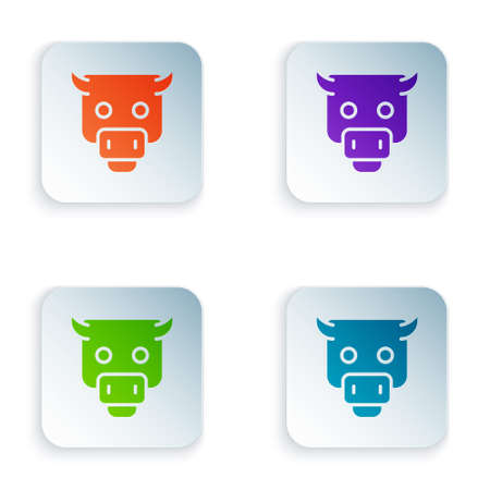 Color Bull market icon isolated on white background. Financial and stock investment market concept. Set colorful icons in square buttons. Vector