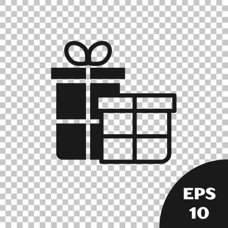 Black Gift box icon isolated on transparent background. Merry Christmas and Happy New Year. Vector