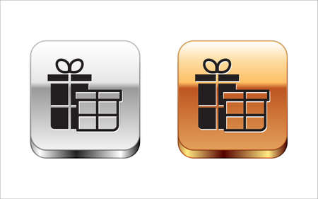 Black Gift box icon isolated on white background. Merry Christmas and Happy New Year. Silver-gold square button. Vector