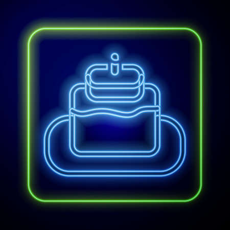 Glowing neon Cake icon isolated on blue background. Happy Birthday. Vector Illustration