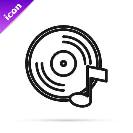 Black line Vinyl disk icon isolated on white background. Vector