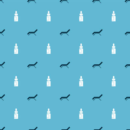 Set Sunbed and umbrella and Essential oil bottle on seamless pattern. Vector