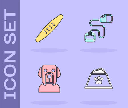 Set Pet food bowl, Nail file pet, Dog and Retractable cord leash icon. Vector Illustration