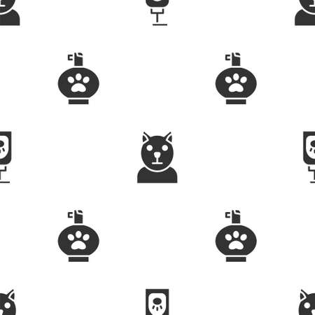 Set Pet shampoo, Cat and on seamless pattern. Vector Illustration