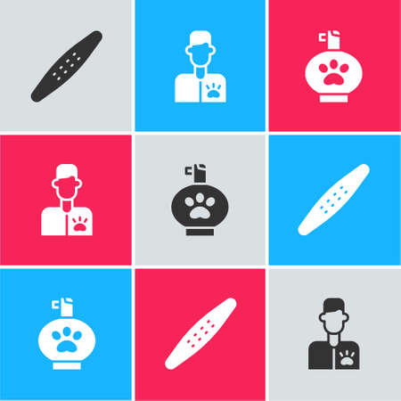 Set Nail file pet, Veterinarian doctor and Pet shampoo icon. Vector Illustration
