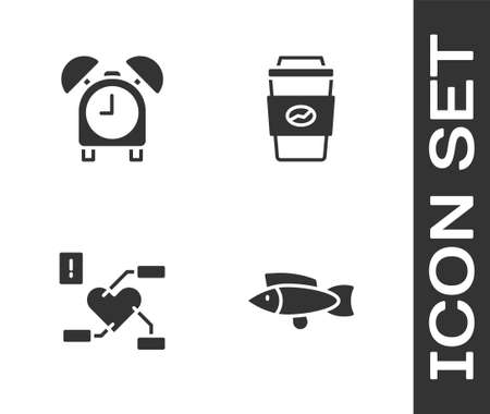Set Fish, Alarm clock, Attention to health heart and Coffee cup go icon. Vector