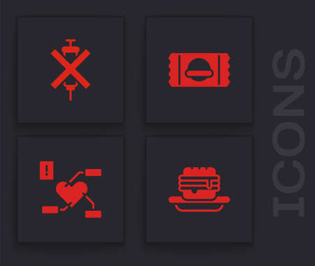 Set Junk food, No doping syringe, Sports nutrition and Attention to health heart icon. Vector
