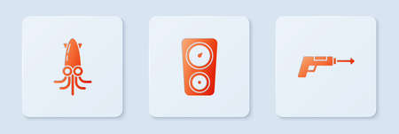 Set Gauge scale, Octopus and Fishing harpoon. White square button. Vector Ilustrace