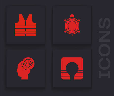Set Life jacket, Turtle and Scallop sea shell icon. Vector