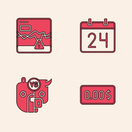 Set Zero cost, Failure stocks market, Calendar and Bull and bear of icon. Vector