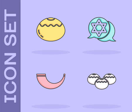 Set Jewish sweet bakery, , Traditional ram horn, shofar and Star David icon. Vector