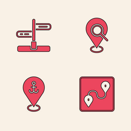 Set Route location, Road traffic sign, Search and Location with anchor icon. Vector