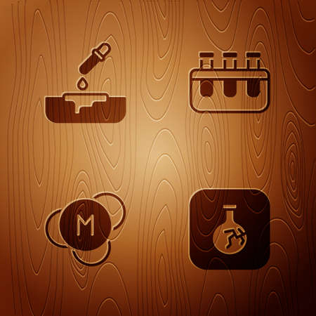 Set Cracked flask, Petri dish with pipette, Molecule and Test tube and on wooden background. Vector